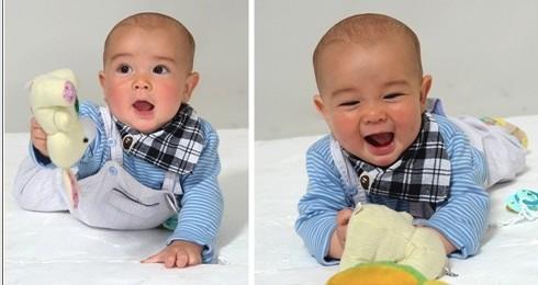 中德混血小宝宝,有神的大眼睛和迷人的笑容.